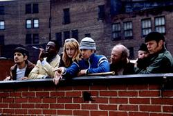 (L to R) Isaiah Washington, Patricia Clarkson, Andrew Davoli, Sam Rockwell, Michael Jeter and William H. Macy
