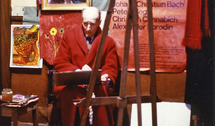 """Für """"Das Erbe"""" (1980) begleiteten Mertens & Marti den Maler Peter Mieg drei Jahre mit der Kamera."""