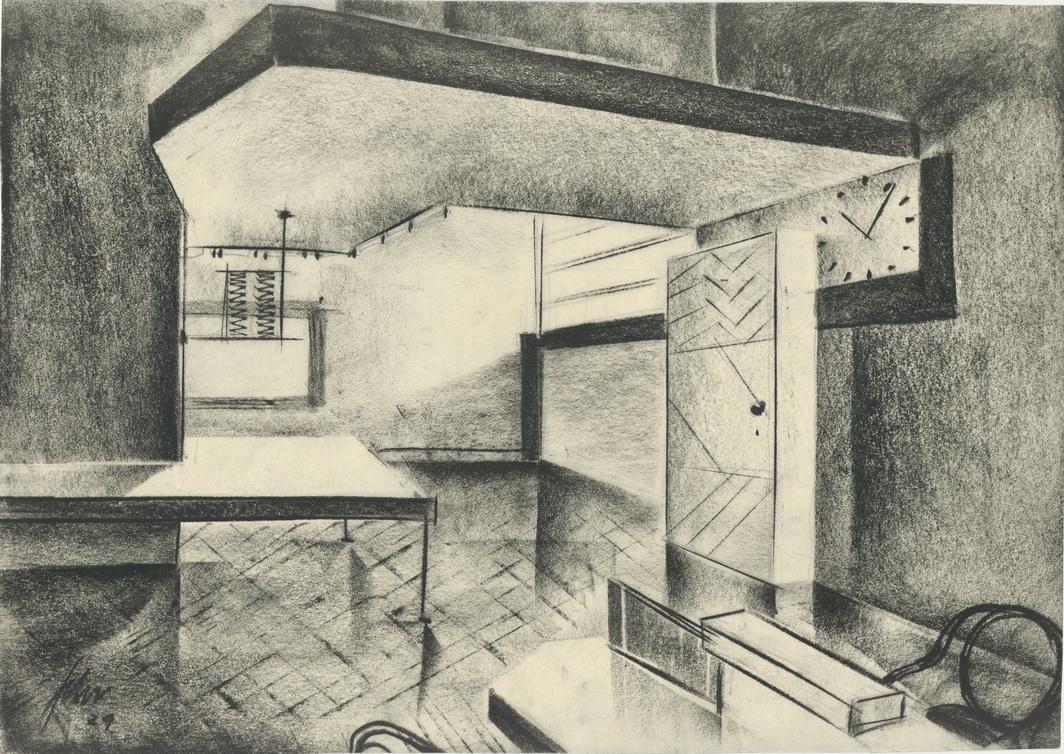 """Skizze """"Die Nacht gehört uns"""" (1929, Carl Froelich), Entwurf: Franz Schroedter, Deutsche Kinemathek – Franz Schroedter Archiv"""