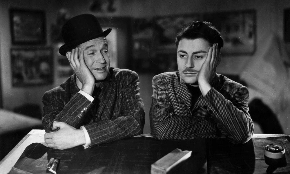 """""""Schweigen ist Gold"""": François Périer an der Seite von Star-Entertainer Maurice Chevalier."""