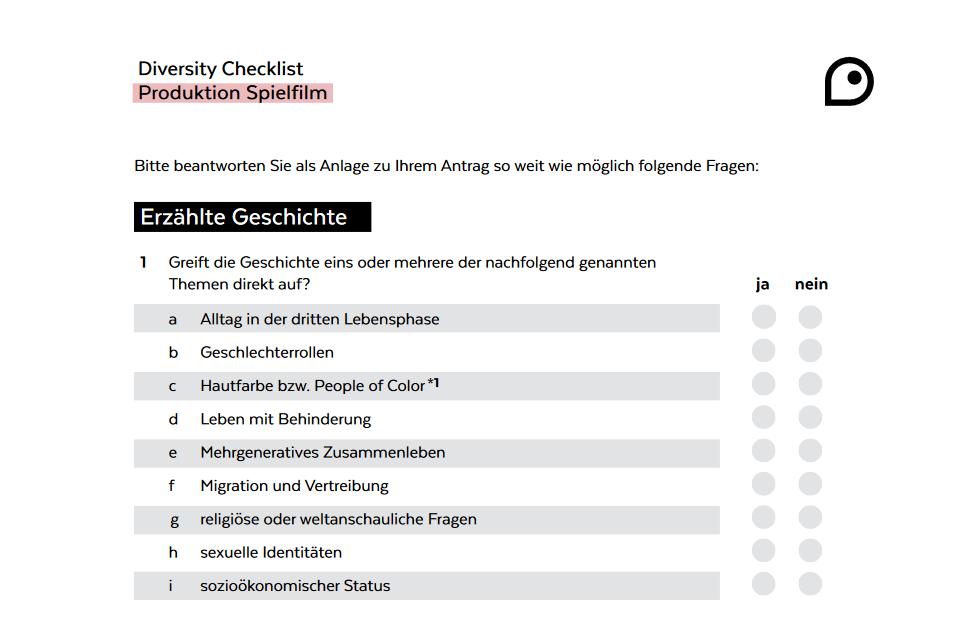 """Screenshot aus der Diversity-Checkliste """"Produktion für Spielfilm und fiktionale Serien"""""""
