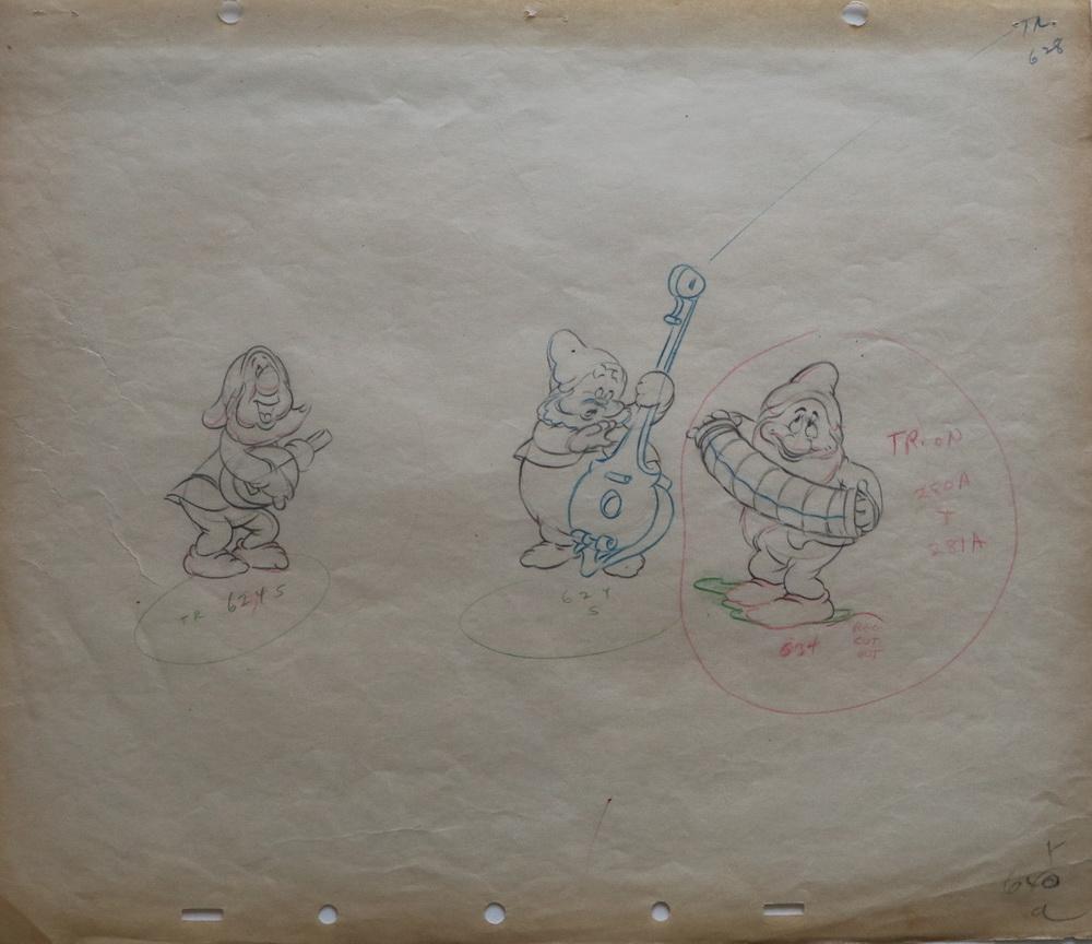 ack Campbell SNOW WHITE AND THE SEVEN DWARFS (US 1937) Cleanup Animation Drawing / Produktionszeichnung, DFF – Deutsches Filminstitut & Filmmuseum (© Disney Enterprises Inc. Quelle: DFF