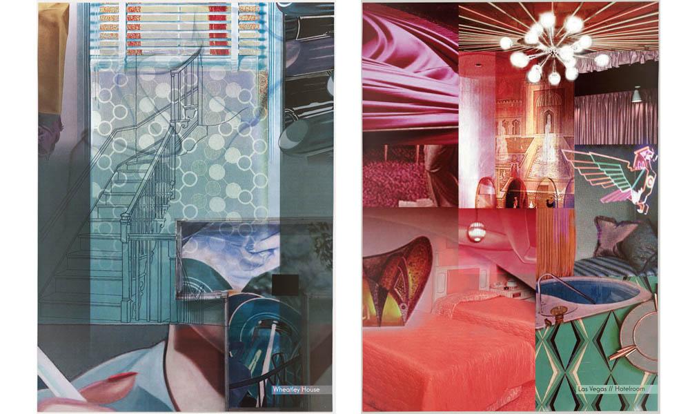 """Farbkonzept """"Wheatley House"""" und """"Las Vegas, Hotelroom"""", Szenenbild: Uli Hanisch. (© Deutsche Kinemathek - Uli Hanisch Archiv)"""
