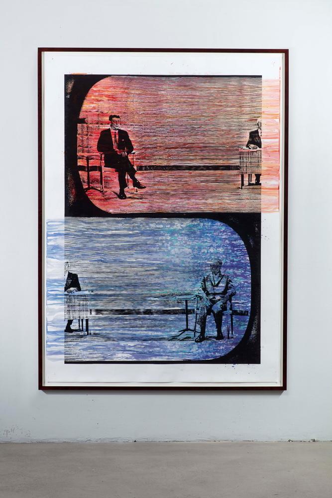 Benjamin Heisenberg Sitting Duck 2020 Digitalcollage, Print, Stift, Wachsmalerei auf Papier (© Benjamin Heisenberg, Courtesy Ebensperger)